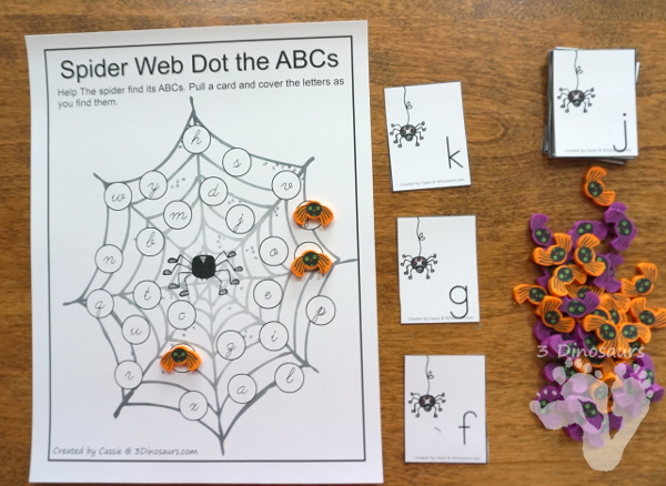 Free ABC Find and Cover Spider Webs: Print & Cursive - 4 find matchs in print and cursive in uppercase and lowercase leters with matching cards for all the mats - 3Dinosaurs.com #abcs #print #cursive #kindergarten #thirdgrade #spidertheme #freeprintable #halloween