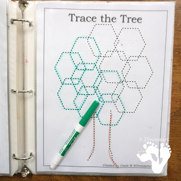 Free Tree Shape Trace and Color - with 12 shapes to trace for the leaves - 3Dinosaurs.com #freeprintable #finemotor #shapes #preschool #kinder