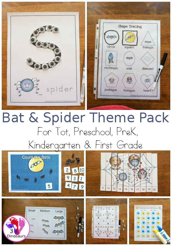 Free Bat & Spider Pack with a 70 pages prek kindergarten, first grade pack and a 36 Preschool & Tot pack with loads of no-prep and hands-on activities with bat and spider themes great for Halloween or a spider theme - 3Dinosaurs.com