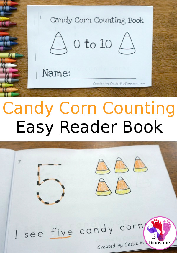 Free Candy Corn Counting Easy Reader Book - 2 sets of cards with a recording sheet and sorting mat for hands-on learning - 3Dinosaurs.com #printablesforkids  #freeprintable #3dinosaurs #easyreaderbook #3dinosaurs #kindergarten