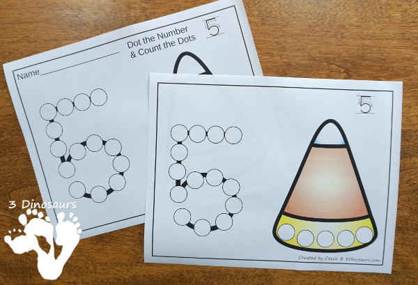 Halloween Themed Dot the Number & Count the Dot: Candy Corn, Spider Webs and Crescent Moon - numbers 0 to 20 with dot marker activities for kids to work on numbers and counting with Halloween themes - 3Dinosaurs.com