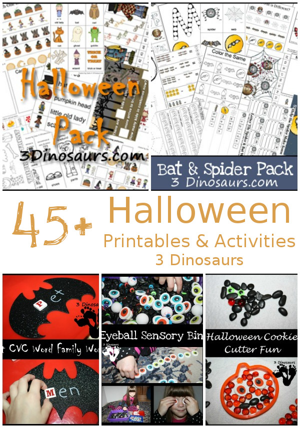 45+ Halloween Activities & Printables - printables, crafts, sensory bins, hands-on activities and more - 3Dinosaurs.com