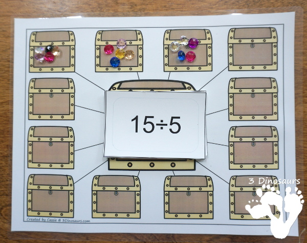 Free Pirate Treasure Division Sorting Task Cards - 2 sets of cards with a recording sheet and sorting mat for hands-on learning - 3Dinosaurs.com #printablesforkids  #freeprintable #3dinosaurs #piratesforkids #division #magictreehouse