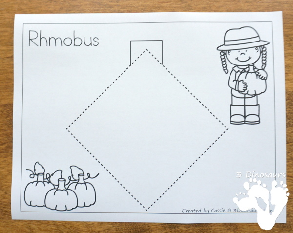 Free Fine Motor Fun With Pumpkin Shape Tracing - with 8 shapes for kids to trace and color - 3Dinosaurs.com