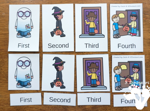 Sequencing: How to Go Trick or Treating with clip cards, task cards, no-prep worksheets and easy reader books $ - 3Dinosaurs.com #printablesforkids #sequencingforkids #halloween #tpt #teacherspayteachers