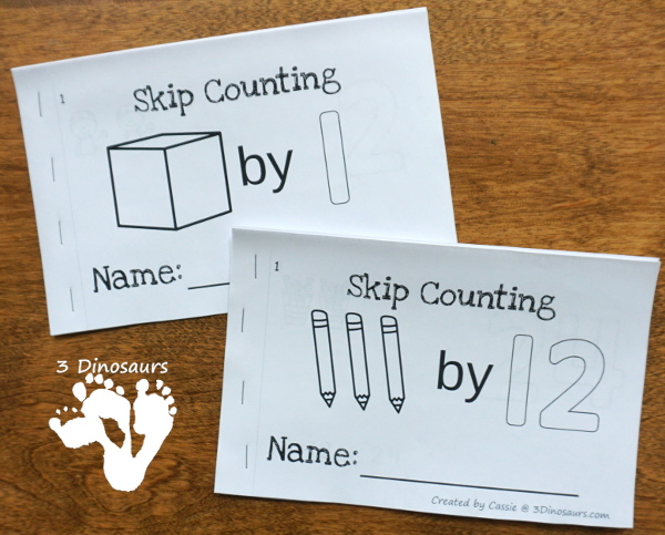 Skip Counting Books & Wall Cards - a fun easy reader book for kids to work on skip counting with different themes for numbers 1 to 12 with matching wall cards - 3Dinosaurs.com