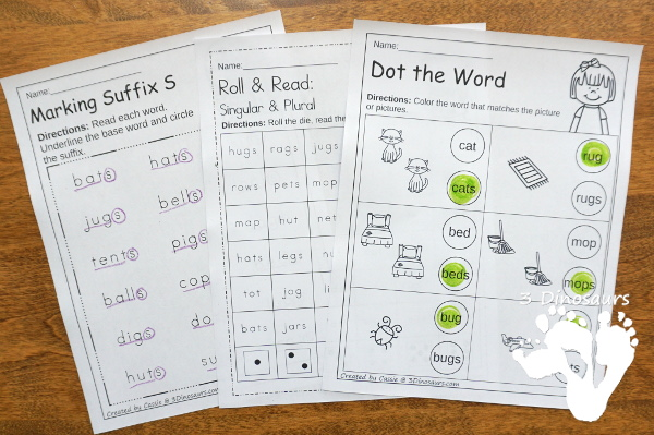 Suffix S Learning Pack - with 43 pages of no-prep printables, puzzles, clip cards and easy reader book all working on suffix s and single and plural  - 3Dinosaurs.com