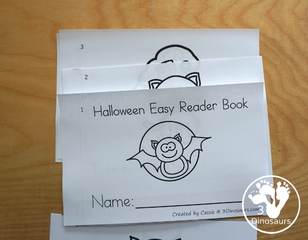 FREE Halloween Easy Reader Book: Short Vowels Words - simple sight word and short vowel words with Halloween themes with sound it out cards and pocket chart sentences - 3Dinosaurs.com