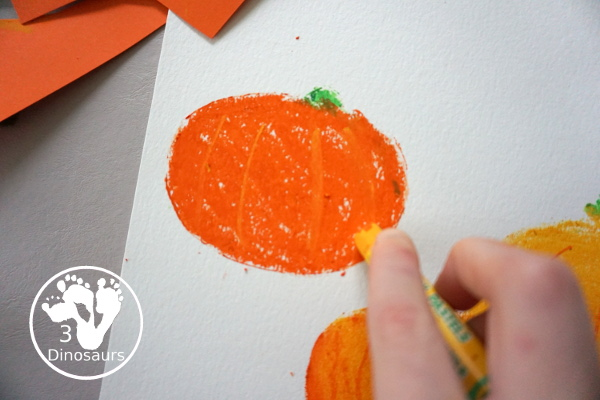 Jack-O-Lantern Patch Oil Pastel and Watercolor - a fun mixed art project for kids to do for Halloween! - 3Dinosaurs.com