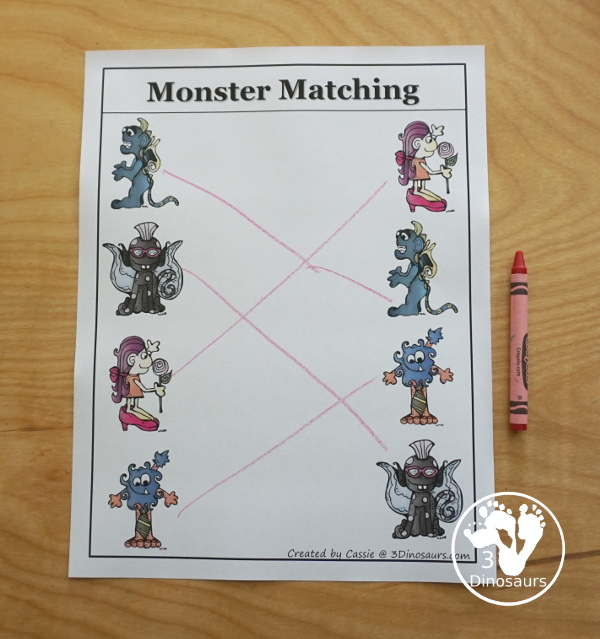 Free Monster Tot Pack - fun monster printables that have preschool and tot age printables for kids to do with puzzles, matching, no-prep pages and more - 3Dinosaurs.com