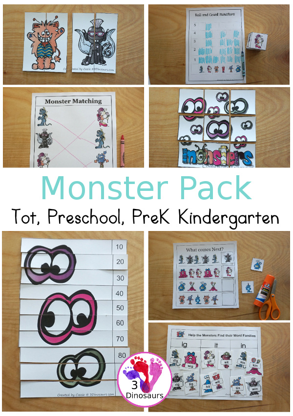 Free Monster Pack - fun monster printables that have preschool, tot, Prek, kindergarten age printables for kids to do with puzzles, matching, no-prep pages and more - 3Dinosaurs.com