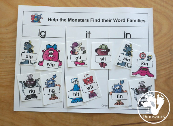 Free Monster Pack - fun monster printables that have preK to kindergarten age printables for kids to do with puzzles, matching, no-prep pages and more - 3Dinosaurs.com