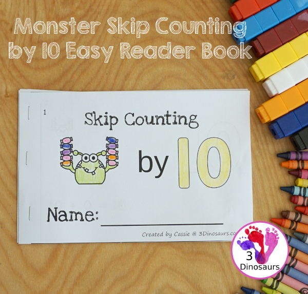 FREE Monsters Skip Counting by 10 Easy Reader Book - a simple easy reader book that helps with skip counting by 10s with fun monster and candy - 3Dinosaurs.com