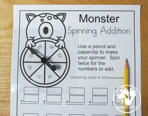 Free Monster Spinning Addition - Easy No-Prep Printable - 3 levels of addition with single digit, double digit and triple digit for kids to work on addition with and without regrouping - 3Dinosaurs.com