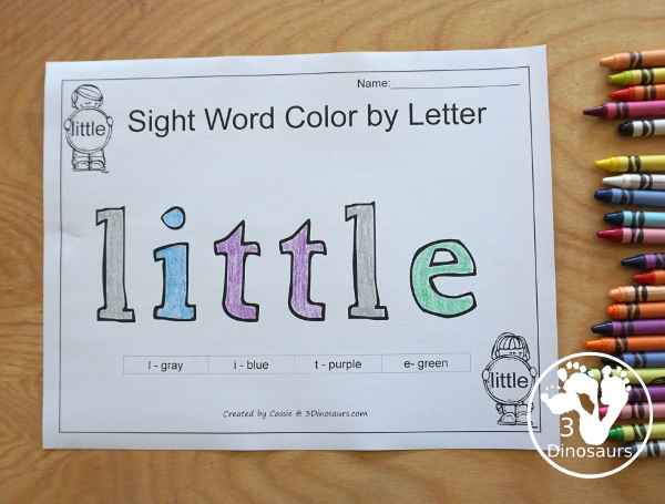 Romping & Roaring Preprimer Sight Words - is a fun sight word color by letter with code for kids to use - 3Dinosaurs.com