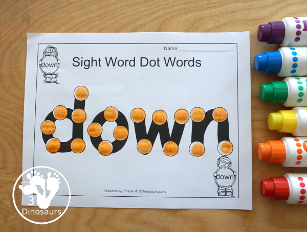 Romping & Roaring Preprimer Sight Words - Sight word dot marker words to work on fine motor skill and spelling the words - 3Dinosaurs.com
