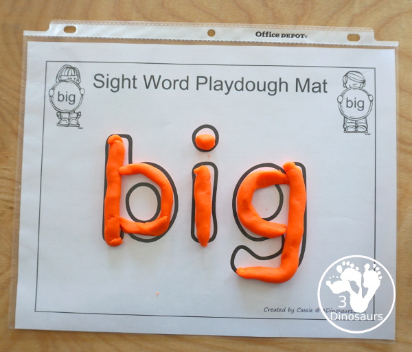 Romping & Roaring Preprimer Sight Words - Sight word playdough mats for kids to have fun with a hands-on learning of the sight words - 3Dinosaurs.com