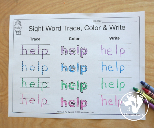 Romping & Roaring Preprimer Sight Words - Sight word trace, color and write with several way to work on learning the words. - 3Dinosaurs.com