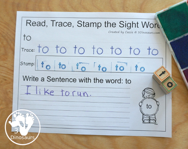 Romping & Roaring Preprimer Sight Words - review page with read, coloring, tracing and finding the correct spelling - 3Dinosaurs.com