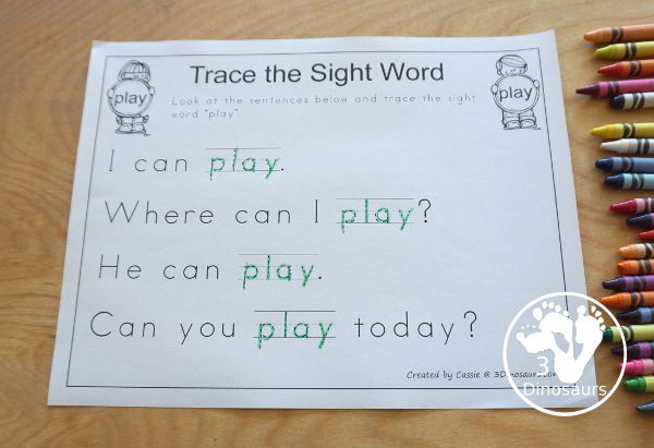 Romping & Roaring Preprimer Sight Words - Find Sight Word in the Sentences - You find the sight words in a sentences with 4 sentences for you to look for the word - 3Dinosaurs.com