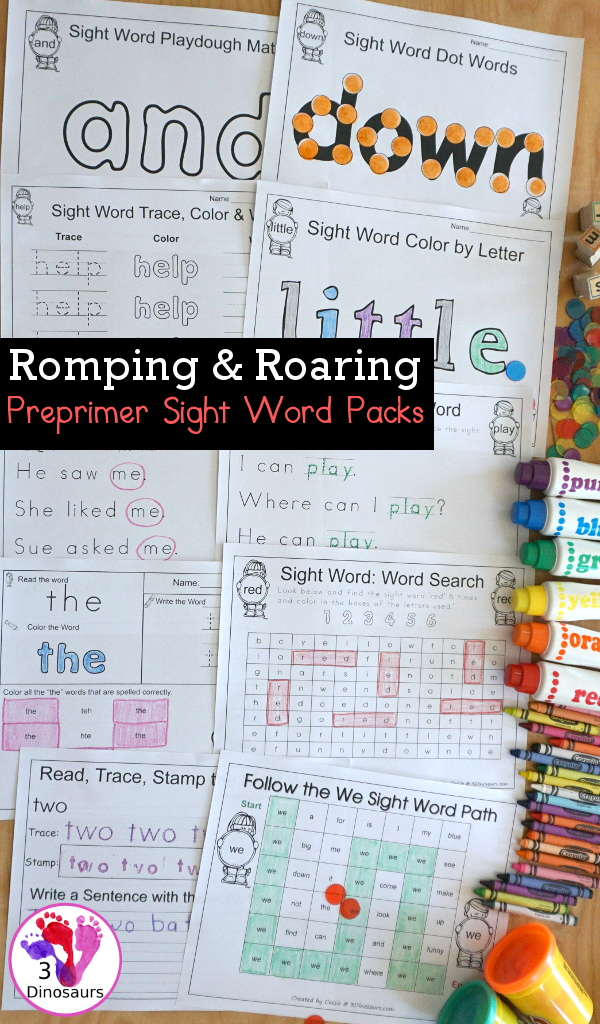 Romping & Roaring Preprimer Sight Words - 10 pages of activities for each all 40 preprimer sight words for easy to use learning centers - 3Dinosaurs.com