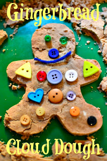 In Lieu of Preschool - Gingerbread Cloud Dough with Buttons