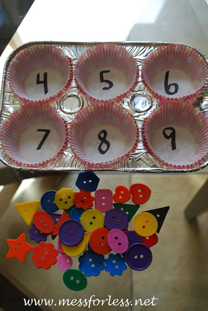 Mess For Less - Counting Game with Button and Muffin Tin
