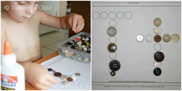 Train Up a Child - Button as Place markers in Activities