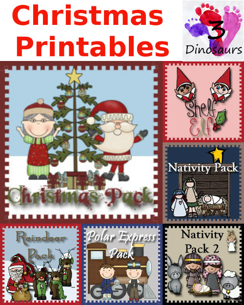 Round up of Christmas Printables from 3 Dinosaurs