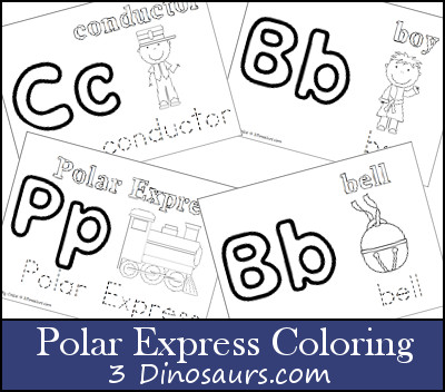 Round Up Of Christmas Printables From 3 Dinosaurs 3 The Polar Express Coloring Pages
