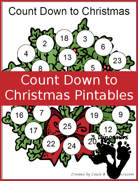 Free Single Page Count Down to Christmas Printables- 3Dinosaurs.com