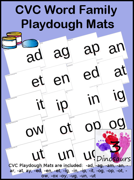Round up of Free CVC Word Family Playdough Mats:  -ad, -ag, -am, -an, -ar, -at, ay, -ed, -en, -et, -ig, -in, -ip, -it, -og, -op, -ot, -ow, -ox -oy, -ug, -un, -ut - 3Dinosaurs.com