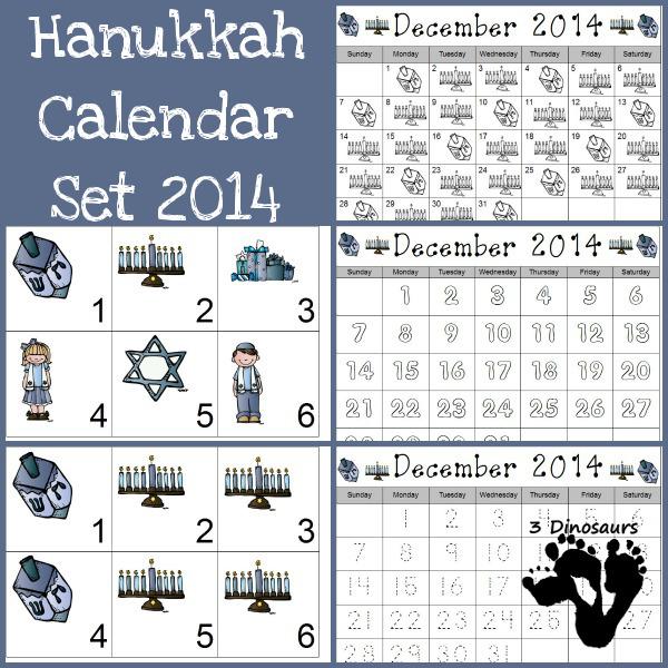 Free 2014 Hanukkah Calendar Printables