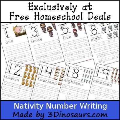 Nativity Number Writing Printables - 3Dinosaurs.com