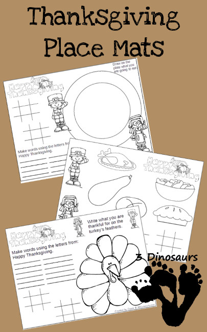 Free Thankgiving Place Mats Printable - 3Dinosaurs.com