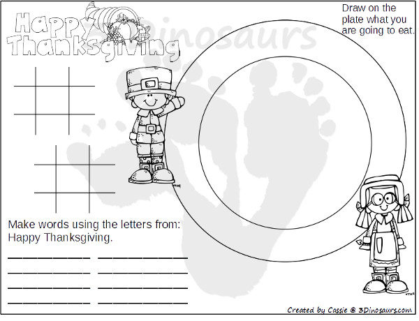 image regarding Free Printable Thanksgiving Placemats referred to as Absolutely free Thanksgiving Point Mats Printable 3 Dinosaurs