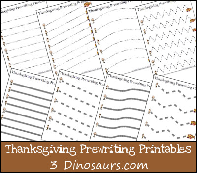 Free Thanksgiving Prewriting Practice Printables - 3Dinosaurs.com