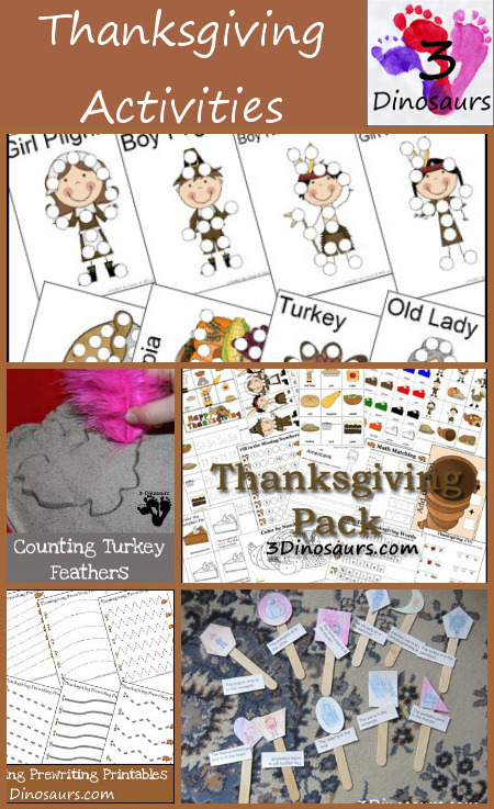 Thanksgving Activities & Printables from 3 Dinosaurs