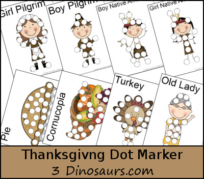 Thanksgiving Pack Extra: Dot Markers - 3Dinosaurs.com