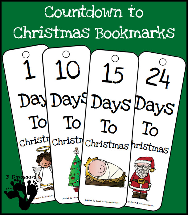 Countdown To Christmas Bookmarks {Free} 4 choices Angles, Christmas Trees, Santa or Baby Jesus - 3Dinosaurs.com