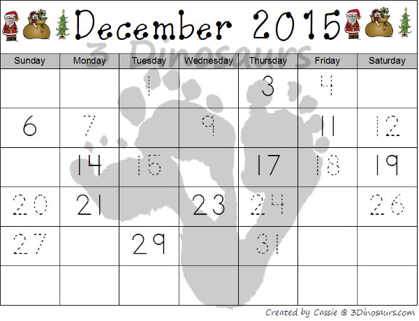 Free 2014 Christmas Calendar Printables: Three different themes: Elves, Santa, & Christmas Themes - 3Dinosaurs.com