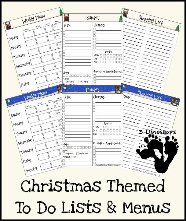 Free Menu & To Do Lists with 2 Christmas Themes - 3Dinosaurs.com