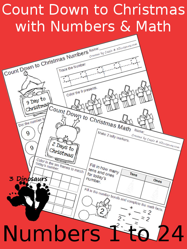 Free Count Down to Christmas with Numbers & Math - 24 pages each for two different levels of math to have a fun way to countdown to Christmas - 3Dinosaurs.com