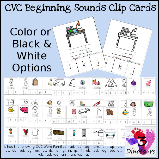 CVC Word Family Beginning Sound Clip Cards:  -ab, -ad, -ag, -am, -an, -ap, -ar, -at, -ed, -eg, -en, -et, -id, -ig, -in, -ip, -it,  -og, -op, -ot, -ub, -ug, -un, -up, -ut - Color and Black & White options $4 - 3Dinosaurs.com
