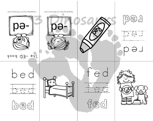 Free CVC Word Family Small Books: Short E:  -ed, -en, -et - 3Dinosaurs.com