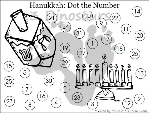 Free 2015 Hanukkah Calendar Printables - 3Dinosaurs.com