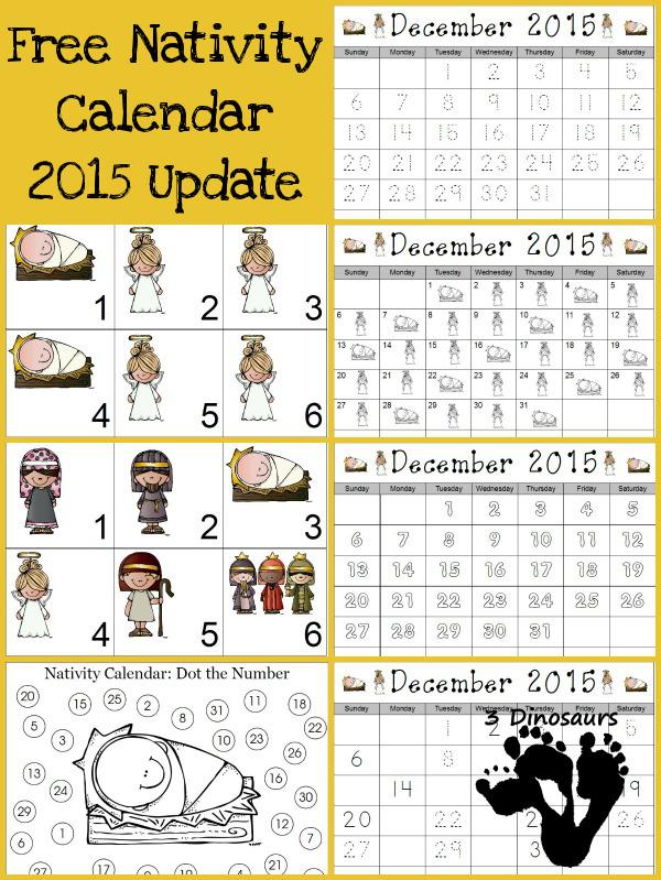 Free 2015 Nativity Calendar Printable - 3Dinosaurs.com
