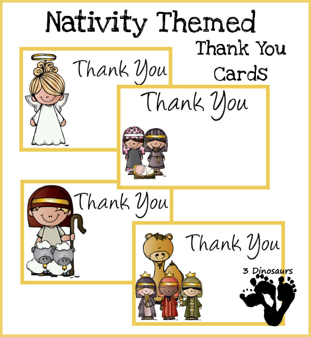 photograph regarding Christmas Thank You Cards Printable Free named No cost Nativity Themed Thank Yourself Playing cards 3 Dinosaurs