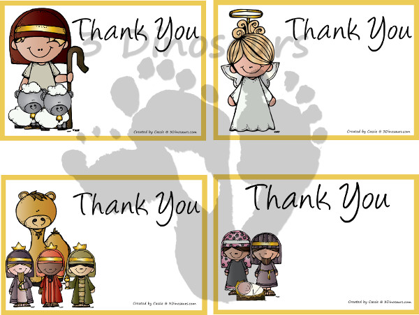 Free Nativity Themed Thank You Cards - 4 cards to chose from