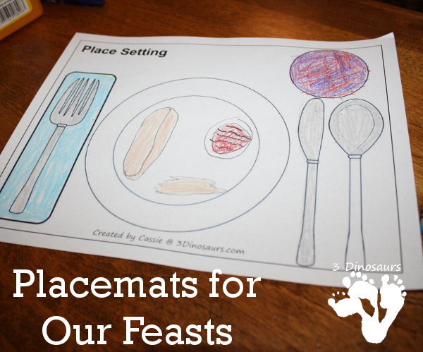 Placemats for Our Feasts - 3Dinosaurs.com